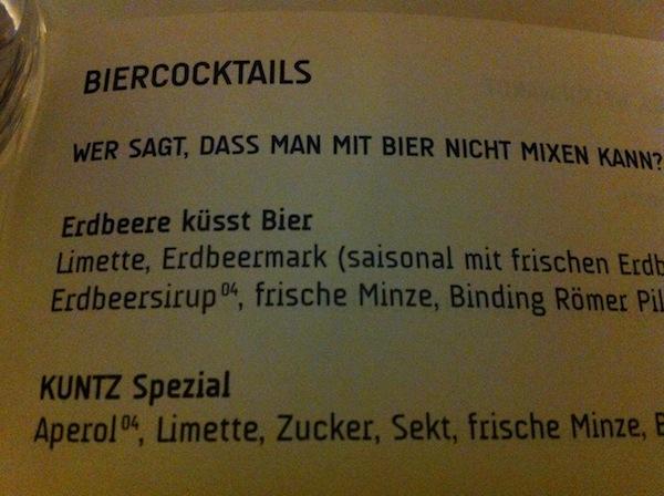 Biercocktails habens in sich! Hier im Hintz und Kuntz in Mainz: Beste deutsche Tapas-Bar.