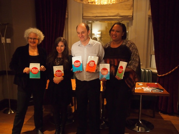 "On November 1, 2012, Janice, Jodi, Terry and Sarah (from left to right) present ""The Traveler's Handbooks"" during a London Book Launch followed by the city's second Travel Massive PR & Blogger Event."