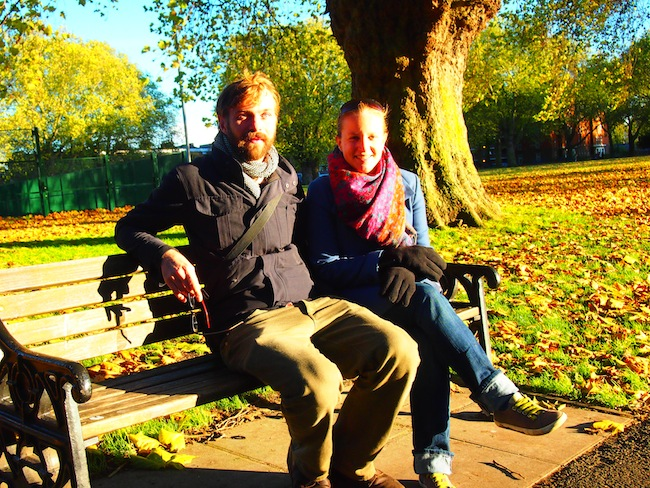 Elena with former couchsurfer Nick Hunt in Hackney Park, East London