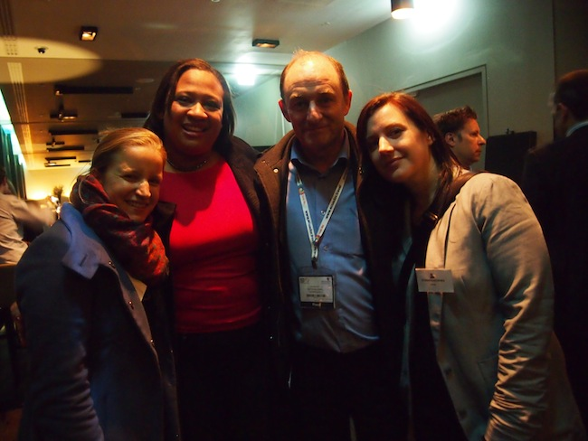 Warm hugs with Sarah and Terry Lee of LiveShareTravel and Andrea Anastasakis of DestinationEurope (from left to right)