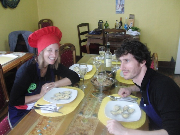 "Cooks for the day: In only four hours, we learn how to prepare fresh mussels and cook up some really yummy ""choclo"" (corn) food. Delicious - a great, ""creative tourism"" experience!"