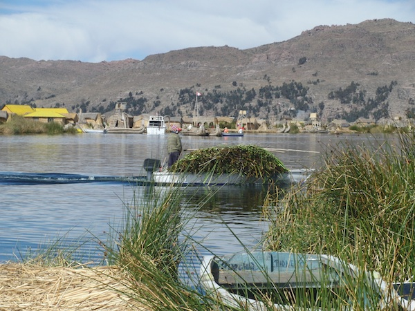 Many local Uros have now traded totora, or reed boats, against motor-powered boats bought in Puno.