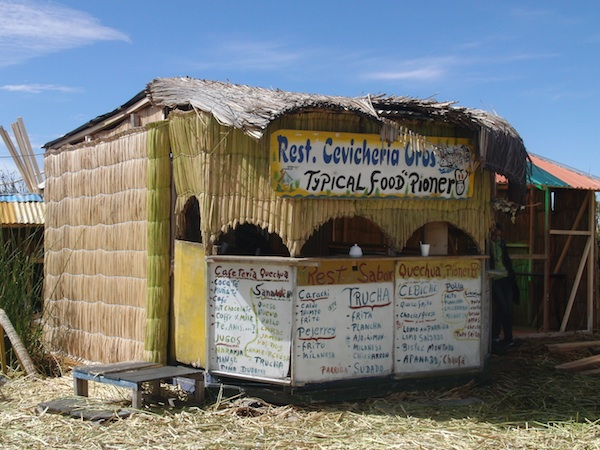 "Hungry? The Uros invite you to come and stay at their ""reed restaurant"", providing similar food to the mainland but topped with fresh fish from Lake Titicaca."
