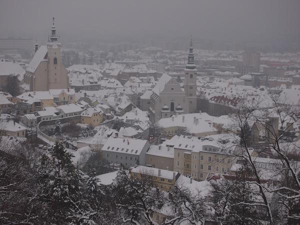 Einen schönen Blick auf die eigene Stadt gewährt so eine Winterwanderung über den Weinterrassen von Krems!