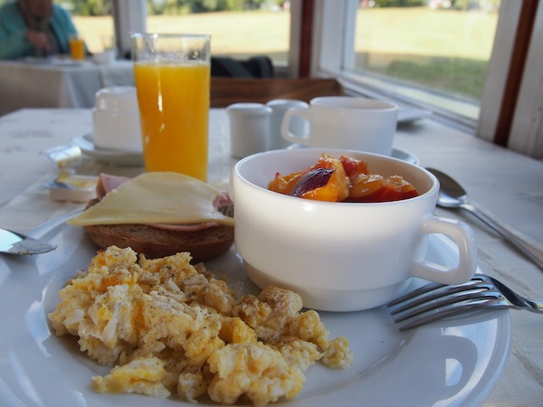 Before I start my day, I enjoy a lavish breakfast buffet at Hotel Las Torres with fresh fruit and eggs from their own organic veggie garden. YUM!