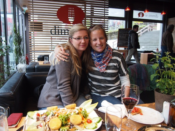 Laurie and I, enjoying a great catch-up over good food near the city of Luxemburg.