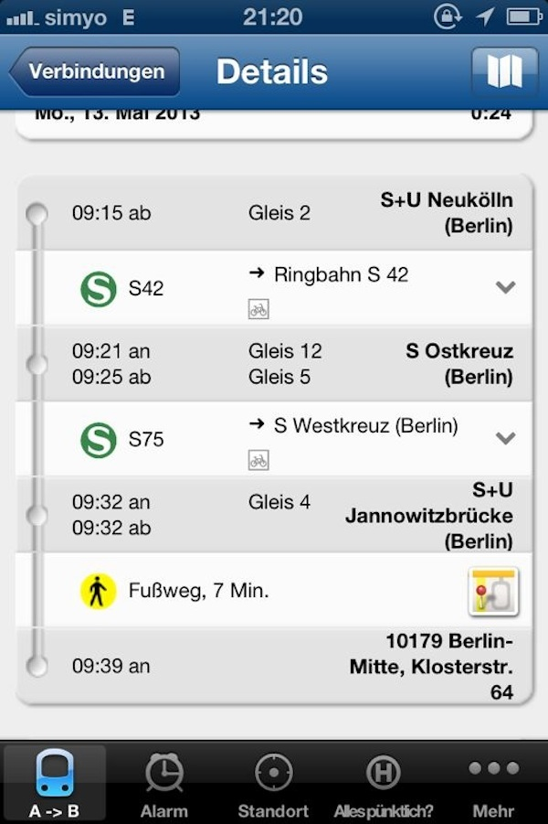 """With a little help from my friends"": Trains do not wait (and were usually really punctual). My friend Sophie sends me a screenshot of the local Berlin tramway connections, making sure I do not miss my train for Hamburg. Thank you dear!"