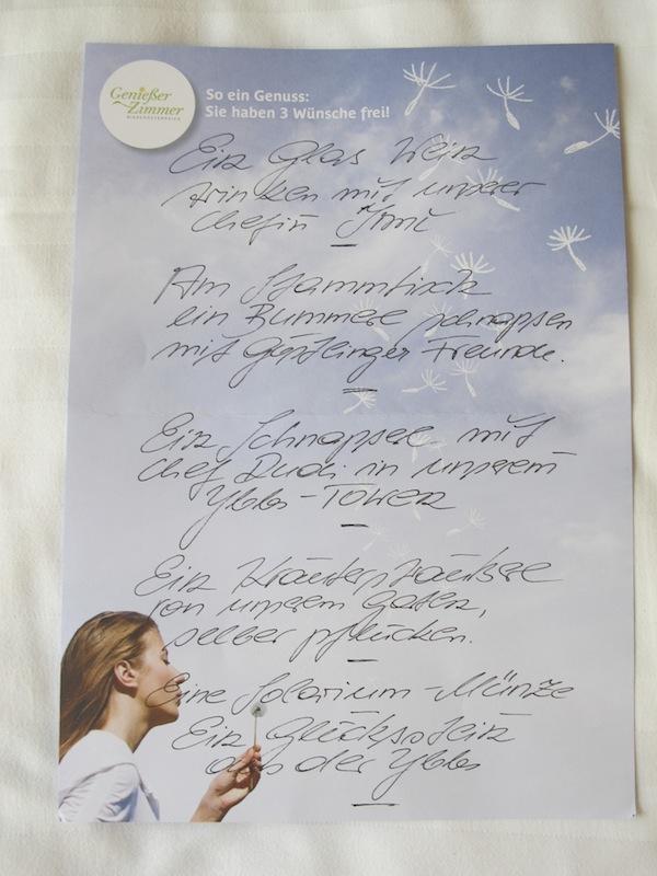 Die eigene Wunschliste macht den Aufenthalt zu etwas Besonderem: Aus dieser Liste werden gut & gerne drei Wünsche vom Genießerzimmer-Gastgeber erfüllt!