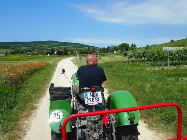 Das Schlosshotel Mailberg organisiert neben zahlreichen Aktivitäten wie Weinverkostungen & E-Bike-Fahrten auch Oldtimer-Traktorfahrten durch die Riedenlandschaft der Umgebung von Mailberg.