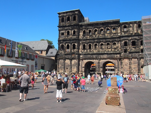 "Past the famous Porta Nigra, the ""Black Gate"" into the old Roman Town of Trier."