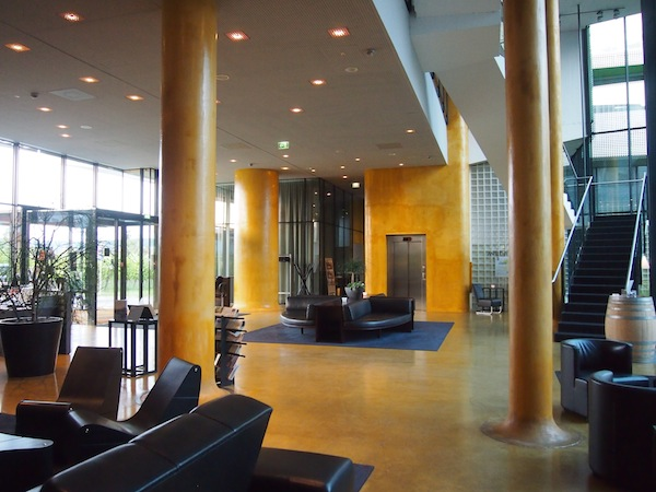 View of the reception area at the modern, avant-garde Wine & Spa Resort LOISIUM hotel Langenlois.