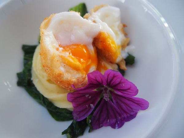 How about this fried free-range egg, served on a truffle soufflé and patchouli vegetables?
