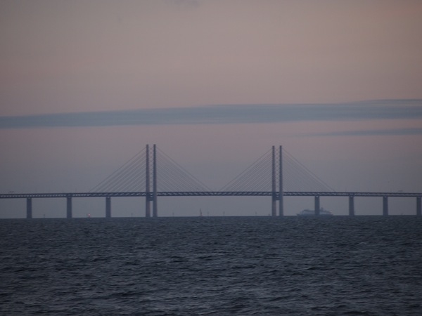 The harbour bridge connecting Denmark with Sweden, as seen from the city of Malmö.