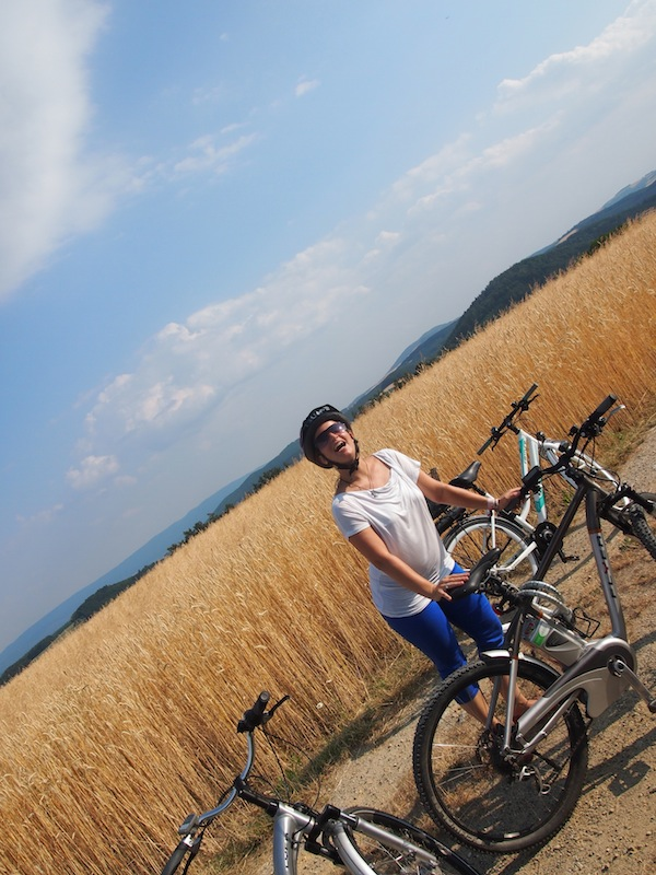 """""""Wer sein Rad liebt, schiebt"""" - beim Ebike eigentlich nicht notwendig. Wenn die Hitze nicht wäre, würde ich angekommen am höchsten Punkt der Buckligen Welt bestimmt noch relaxter aussehen mit meinem Mountain-Ebike ... !"""