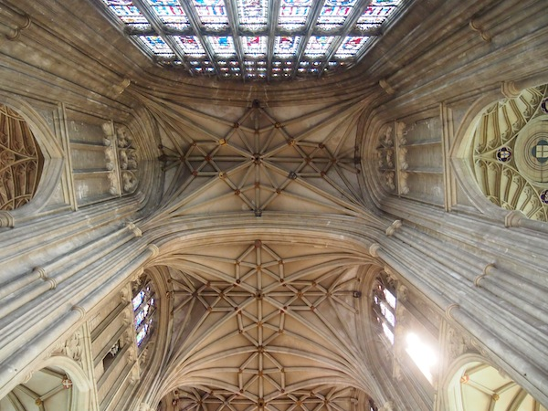 Looking up at the fascinating roof inside the cathedral.