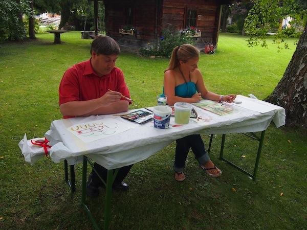 Mein allererster Kreativkurs in diesem Jahr bei den natura.kreativ Altenmarkter Kreativwochen in diesem Jahr: Die Aquarellmalerei im wunderschönen Garten des alten Bauernhauses Eckartgürtl.