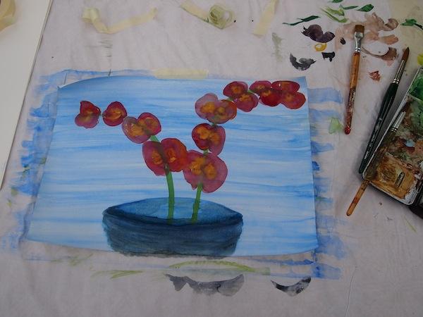 Wenig später gelingt mir folgendes Orchideen-Aquarell: Happy Birthday, liebe Mama!