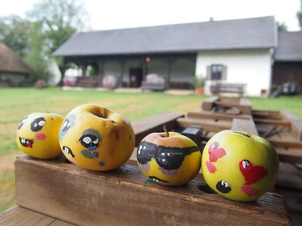 """Hier besuchen wir das gleich """"nebenan"""" liegende Künstlerdorf Neumarkt an der Raab, welches uns mit kreativen Äpfeln empfängt."""