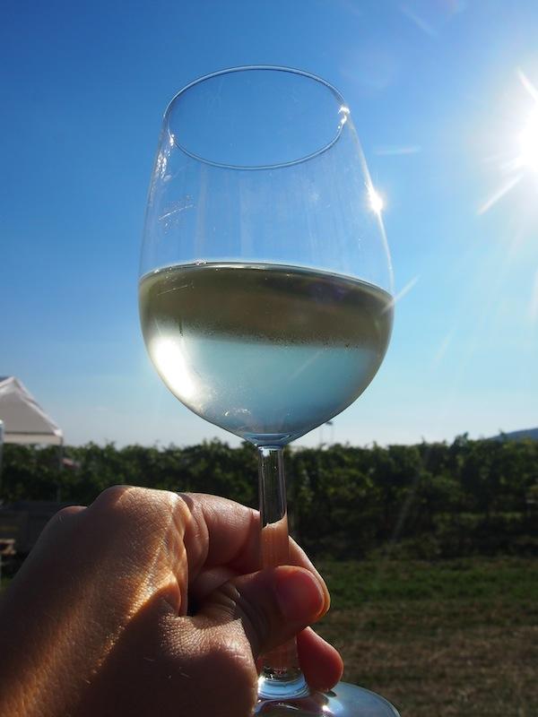 Ein Hoch auf den Genuss: Sir Oliver, frisch abgefüllt vom Weingut Krug im Glas ...