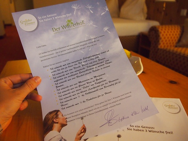 Later on, I tear open my envelope detailing my three wishes at the Geniesserzimmer of Lower Austria …