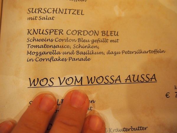 """Humor muss sein: Liebe Leser, die burgenländische Speisekarte für FISCH (""""aus dem Wasser heraus"""") :D ."""