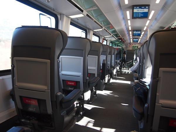 Blick in den superschnellen Railjet der ÖBB: Eine empfehlenswertere Anreise für die Strecke Wien oder Niederösterreich - Tirol habe ich nicht!