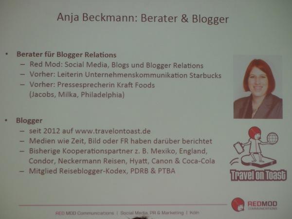 """Eine weitere und international erfolgreiche Reiseblogger-Kollegin möchte ich Euch hier vorstellen: Anja Beckmann von www.TravelOnToast.de spricht auf der ITB Berlin über das spannende Thema der Stunde """"Blogger Relations""""."""