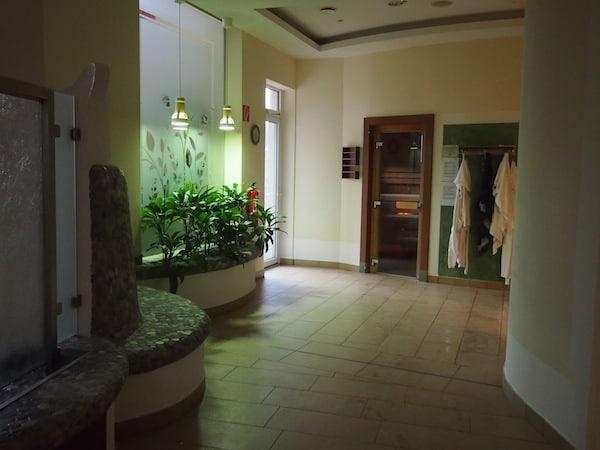 Am Tag vor dem Kurs kann ich mich hier im Wellnessbereich des Hotels entspannen. Zuerst das Vergnügen, dann die Arbeit ... ?