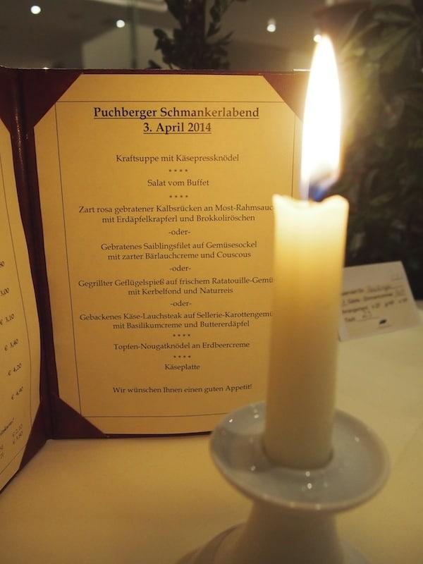 Die Genuss-Halbpension tut das Ihrige dazu, mich in Puchberg rundum wohl zu fühlen: Kulinarische Schmankerl par excellence ...