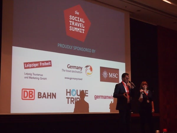 Opening of the Social Travel Summit in Leipzig by co-hosts Keith Jenkins (VelvetEscape, iAmbassador) & Angelika Schwaff (Reisefreunde, ReisebloggerKollektiv).