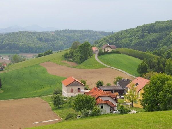 Ankunft in der Oststeiermark: Der Blick vom Genusshotel Regensburg trifft auf hübsche Landstriche wie diese hier.