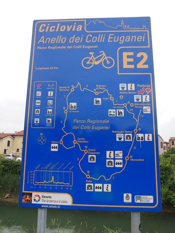 Unterwegs nach Padua, finden wir unseren Radweg stets gut beschildert wieder.