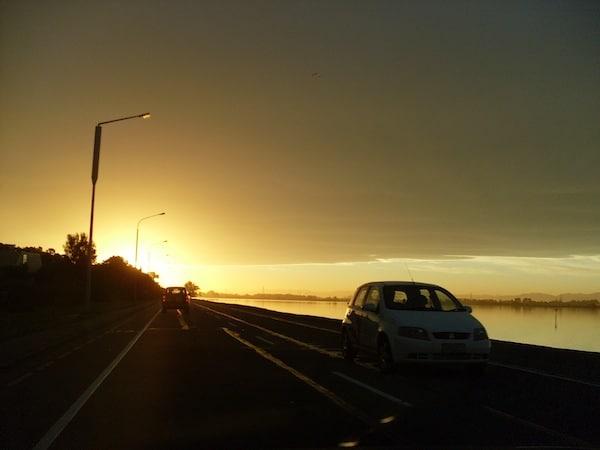 Glück auf Reisen: Einzigartige Sonnenuntergänge beobachten und erleben zu dürfen, wie hier am Himmel von Christchurch.