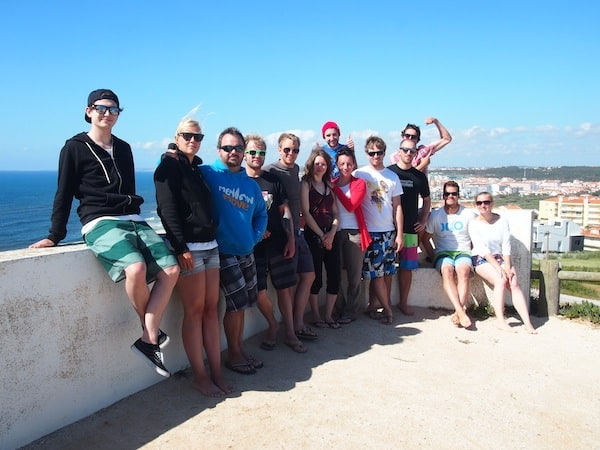 Well done guys: Surf camp picture taken at Santa Cruz beach, Portugal.