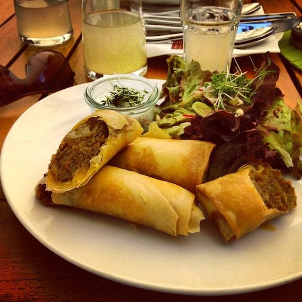 Und auch kulinarisch lässt hier nichts zu wünschen übrig: Saftige Frühlingsrollen gefüllt mit Waldviertler Kraut & Mohn auf sommerlichen Blattsalaten ... mir läuft schon wieder das Wasser im Mund zusammen!
