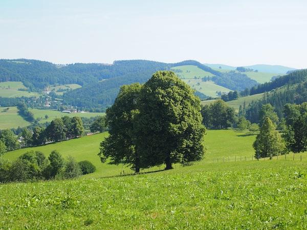 Blick in die traumhafte Landschaft des Mostviertler Alpenvorlandes von der Via Sacra aus.