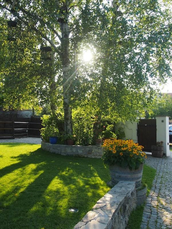 Willkommen, scheint dieser schöne Garten im Oleander Romantik-Heuriger in Trausdorf zu sagen!