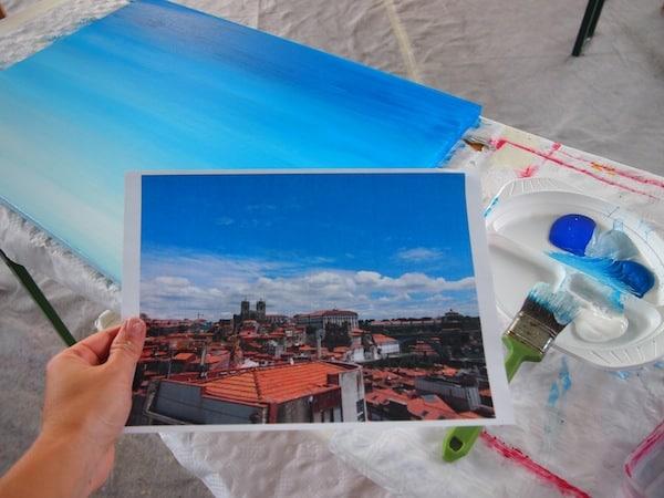 """... bevor ich schließlich zur Verwirklichung meines eigenen Werkes schreite: Das Bildnis der Stadt Porto vom """"Miradouro da Vitória"""" auf Leinwand zu bringen!"""