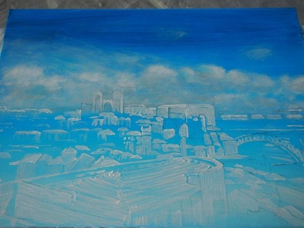 Wir beginnen mit den Wolken im Hintergrund sowie den schemenhaft hellsten Stellen im Bild: Leichtfüßig erscheint ein erstes Stadtbild aus dem Wolkenmeer.