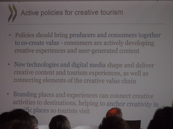 Active policies in developing creative tourism mentioned at the OECD Conference in Linz.