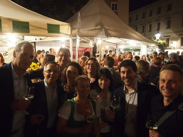 "Clearly we are ""listening & learning the language of the other"": Team of international OECD conference participans gathering at the local Linz Wine Fest!"
