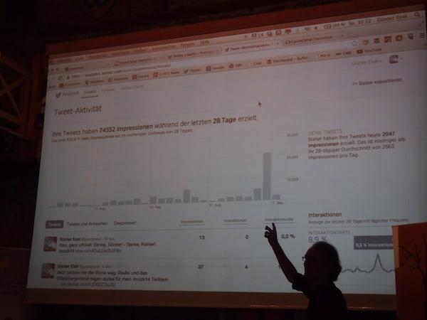 Selbiger ist auch bei Günter Exel zu haben: Als Twitter-Profi berichtet er uns hier während einer Session am Sonntag Vormittag über die brandneuen Twitter Analytics sowie deren Möglichkeiten zur Reichweiten-Messung von Beiträgen über den multimedialen Social-Media-Kanal Twitter.