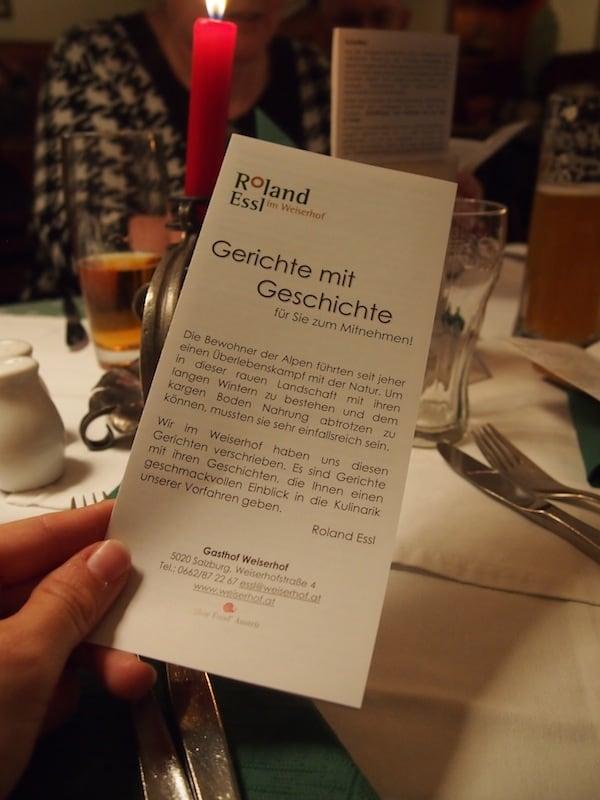 Gerichte mit Geschichten im Weiserhof ...
