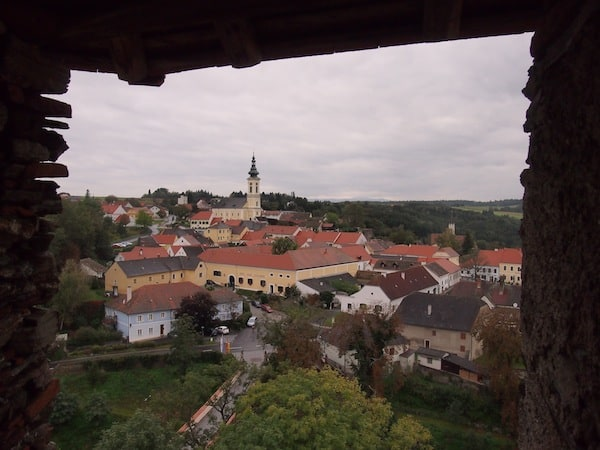 From high up in the tower, you actually have a magnificent view over the surroundings of Stadtschlaining.