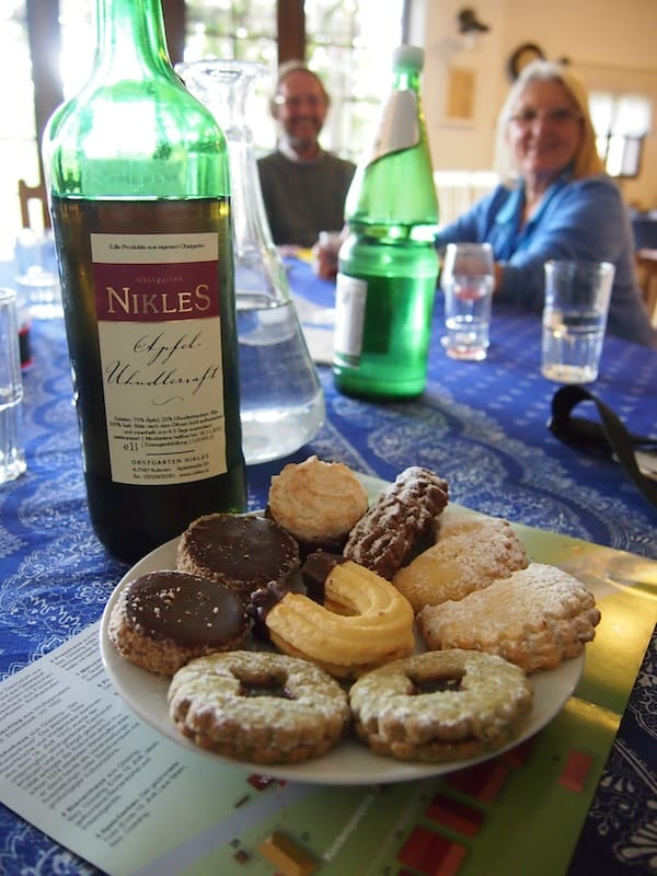 Of course, Eveline & her husband insist on treating us to local area delights, such as cookies and sweets (again!) as well as typical Uhudler juice & wine that is only to be found here in the Southern Burgenland. Thank you so much for all this hospitality here!
