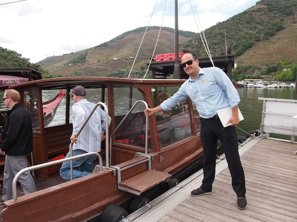 All aboard: Marco invites us to step aboard this historic Douro river boat that has once been used to transport Port wine barrels all the way downstream and into the Port wine cellars of Vila Nova da Gaia in Porto.