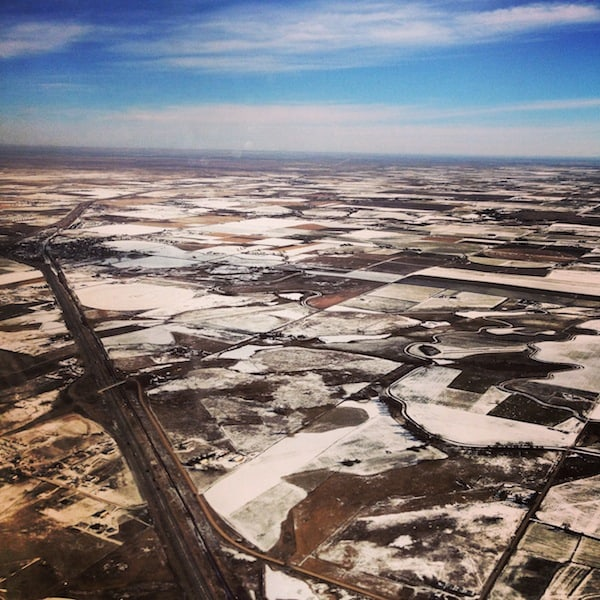 View upon the Central American Plains, as spotted from my airplane at Denver Airport, Colorado.