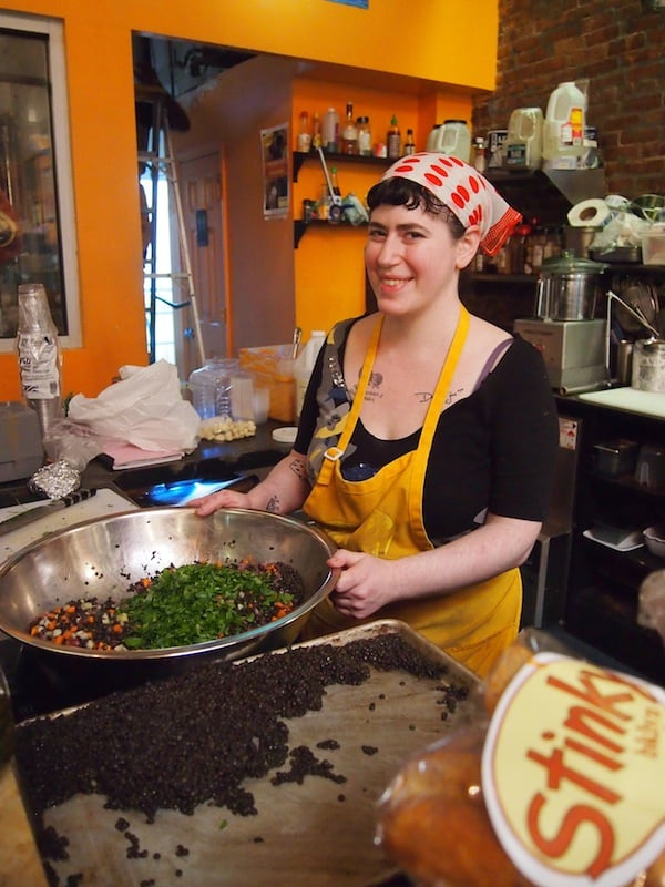 Rachel, who has prepared our sandwiches, is off to stirring up lentil salad next. Thank you for this first treat, dear Rachel!
