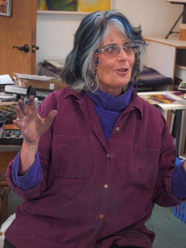 """Seht selbst, wie sehr Jane strahlt: Vielen Dank auch Dir, liebe Jane, für einen unvergesslichen Vormittag beim Kreativ-Workshop """"Malen mit Pastellfarben"""" hier in Santa Fe!"""