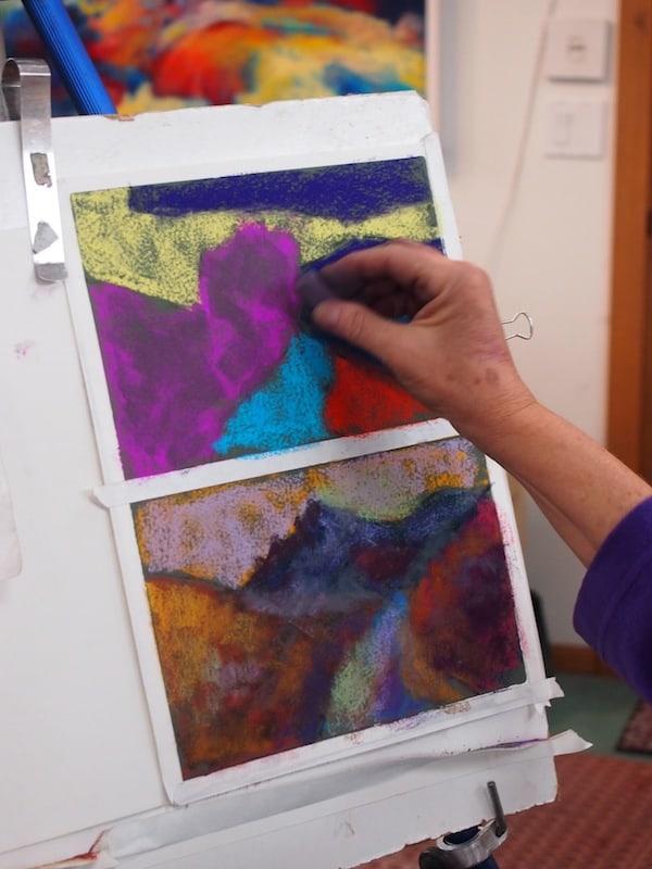 ... die uns geduldig Aufbautechniken, Farbgebung und Perspektiven in der Malerei mit Pastellfarben erklärt.